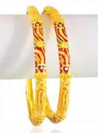 22Kt Gold Pipe Bangles (2 Pcs)
