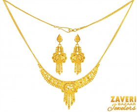 22k Gold Filigree Necklace Set ( 22K Light Necklace Sets )