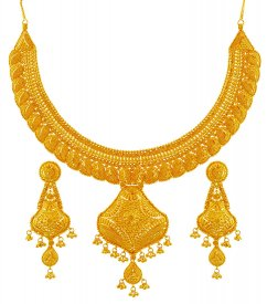22K Gold Necklace Earring Set ( 22K Gold Necklace Sets )