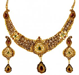 22kt Gold Antique Necklace Set  ( 22K Antique Necklace Sets )