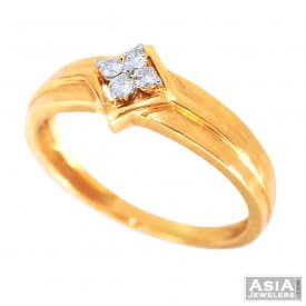 Yellow Gold Mens Diamond Ring 18K
