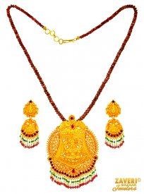 22 Kt Antique Temple Necklace Set ( 22K Antique Necklace Sets )