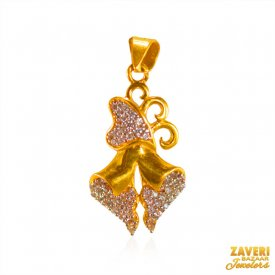 22K Gold CZ Pendant ( Gold Fancy Pendants )