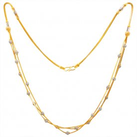 22kt Gold Two Tone Layered Chain for Ladies