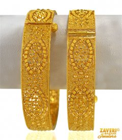 22 kt Gold Filigree Kada 2PCs