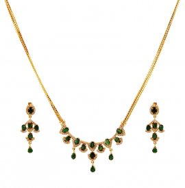 Small Diamond Set With Emerald  ( Diamond Necklace Sets )