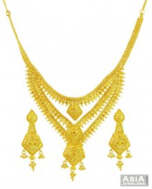 Three Layered Gold Necklace Set 22k ( 22K Gold Necklace Sets )