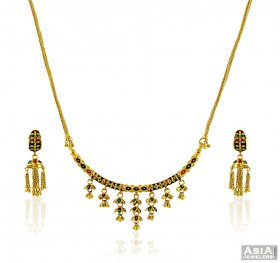 Gold Meenakari Necklace Set ( 22K Light Necklace Sets )