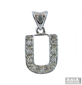 White Gold Signity Pendant ( U )  ( Gold Initial Pendants )