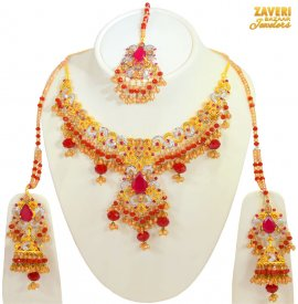 Ruby Necklace Set in 22kt Gold
