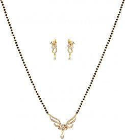 18 KT Gold Diamond Mangalsutra Set