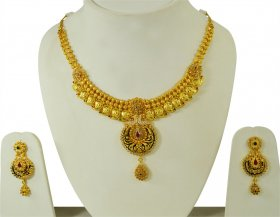 22 Kt Antique Necklace Set ( 22K Antique Necklace Sets )
