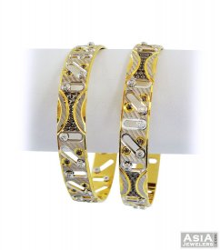 22K Gold Bangles With Cz (2Pc) ( Multi Tone Bangles )