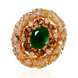 22kt Gold Emerald Ring for Ladies ( Gemstone Rings )