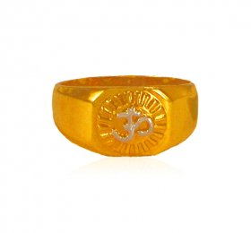 22 Karat Gold OM Ring ( Gold Religious Rings )