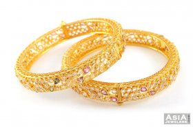 Gold Antique Stone Bangles ( 22K Antique Bangles )