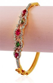 Gold Bangles with colored stones ( Gold CZ Bangles )