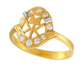 Gold Ladies Ring With CZ ( 22K Gold Rings )