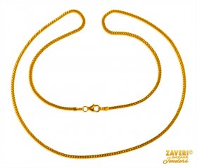 22 kt Gold Simple Box Chain (18 in) ( Plain Gold Chains )