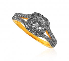 22K Gold CZ Solitaire Ring ( Stone Rings )