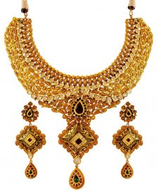 Antique 22K Gold Bridal Set ( 22K Antique Necklace Sets )
