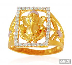 22k Gold Ganesha Mens Stones Ring  ( Men`s Rings )