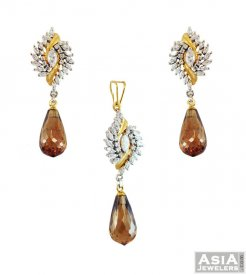 22K Gold CZ Pendant Set ( Gold Fancy Pendant Sets )