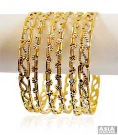 Two Tone Gold Bangles(6 PC)
