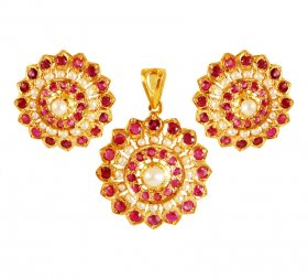 22K Gold  Pendant Set  ( Gold Fancy Pendant Sets )