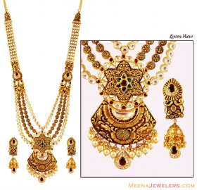 Antique 22K Patta Haar Set ( 22K Necklace Sets (Long) )