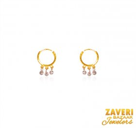 22K Gold Two Tone Kid Earing  ( 22K Gold Hoops )