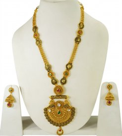 22K Gold Antique Patta Set ( 22K Necklace Sets (Long) )