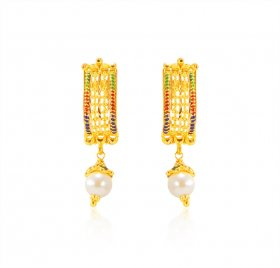 22K Gold Meenakari Earrings  ( 22K Gold Earrings )