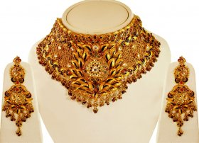 22kt Gold Choker Necklace Set ( 22K Antique Necklace Sets )