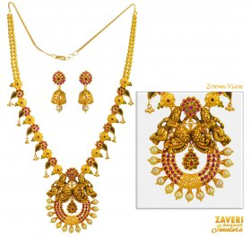 22 Karat Gold Temple Necklace Set ( 22K Antique Necklace Sets )