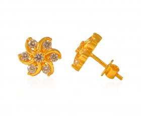 22 Kt Gold CZ Earrings ( 22K Gold Tops )