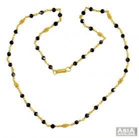 Gold Black Beads Chain 22K