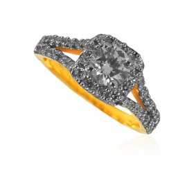 22 Karat Gold CZ Solitaire Ring