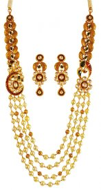 22KT Gold Antique Long Necklace Set ( 22K Antique Necklace Sets )
