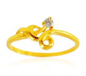 22k Gold Signity Stones Ring