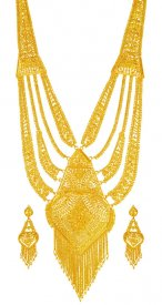 22K Long Gold Necklace Set