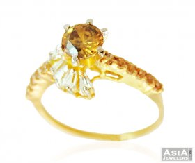 FAncy Gold RIng with CZ