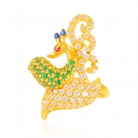 22k Gold Traditional Peacock Ring ( Stone Rings )