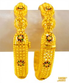 22K Gold meenakari Kada (2pc)