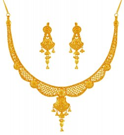 Exclusive Filigree Necklace Set 22K ( 22K Gold Necklace Sets )