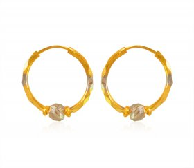 22 Karat Gold Two Tone Hoop ( 22K Gold Hoops )