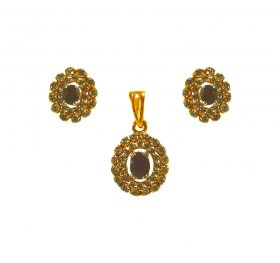22K Gold Pendant set with Sapphire ( Precious Stone Pendant Sets )