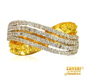 22 Kt Gold CZ Ring ( Stone Rings )