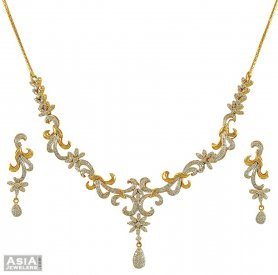 18k Genuine Diamond Necklace Set