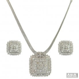 22K WG Traditional Necklace Set ( White Gold Necklace Sets )